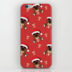 Cool Santa Bear with sunglasses, Santa hat and red Christmas gift pattern iPhone & iPod Skin by #PLdesign #Christmas #santa #ChristmasGift #CoolSantaBear