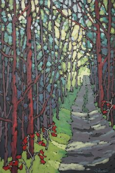 """Landscape Paintings and photographs : """"Long Forest Road"""" by Jennifer Woodburn Illustration Photo, Illustrations, Abstract Landscape, Landscape Paintings, Art Abstrait, Art Graphique, Canadian Artists, Types Of Art, Tree Art"""