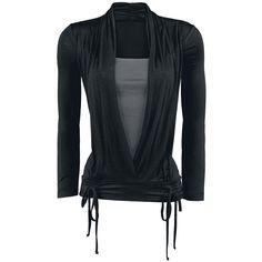Das schwarze Girl-Longsleeve von Black Premium by EMP hat einen ganz besonderen Schnitt. Die Weite des Oberteils kann anhand von Bändern am Bund bestimmt werden und der Kragen hat eine edle Schal-Optik.