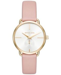 Michael Kors Women's Portia Pink Leather Strap Watch 36mm MK2659 - Gold