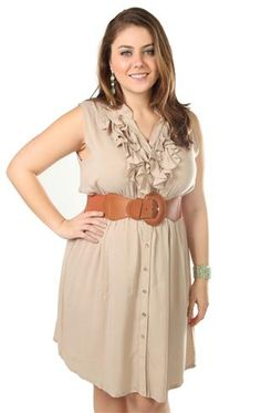plus size buttoned up ruffled front belted casual dress tan & rose $39.50
