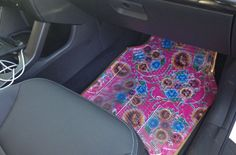 Do you ever get in the mood to totally revamp and accessorize your wheels? I did. Earlier this month when I was about to embark on a road trip,I knew I had to DIY something special. I came up with these fancy fabric mats that were a cinch to put together! Here's how I did it!  SUPPLIES:   Oil Cloth Hibiscus Blue Fabric(they also have other colors and patterns!)  BDK MotorTrend Universal Fit 4-Piece Odorless Premium Heavy Duty All Weather Maximum Protection Car Floor Mat - Rubber (Clear)…