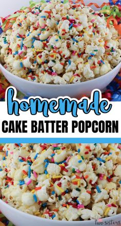 Cake Batter Popcorn - sweet, salty, full of sprinkles and it tastes just like a Birthday Cake.  This yummy and colorful popcorn snack is perfect for family movie night.  Pin this fun popcorn treat for later and follow us for more great Popcorn Recipe Ideas. #CakeBatter #Sprinkles #Popcorn #PopcornRecipes #SweetPopcorn Sweet Popcorn, Popcorn Snacks, Popcorn Recipes, Marshmallow Desserts, Marshmallow Popcorn, Cake Batter Popcorn, Yellow Cake Mixes, Homemade Cakes, Recipe Ideas