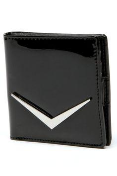 Shiny Black Lux Mini Wallet by Lux de Ville   Bags   Shiny