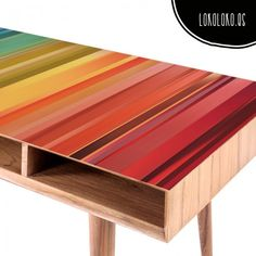 Vinilo para muebles de franjas de colores intensos / Vinyl for furniture of intense coloured bands. #lokolokodecora #vinilosmuebles
