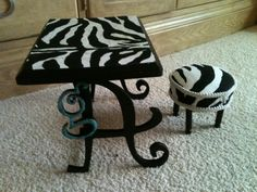 "My American Girl DIY Desk - looks like it uses decorative swirly ""A""s, a small ""g"", a zebra-print felt for the top of the desk (and stool)"