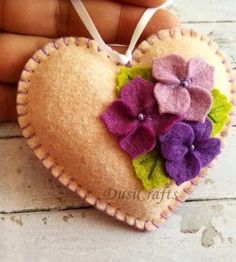 Items similar to lilac floral heart ornament mother's day gift for valentines day decor gift for mom felt heart ornament valentine decorations on etsy Felt Embroidery, Felt Applique, Felt Flowers, Fabric Flowers, Fabric Hearts, Felt Decorations, Valentine Decorations, Heart Crafts, Felt Christmas Ornaments