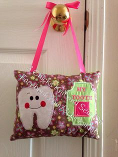 Items similar to Tooth Fairy Embroidered Pillow For Girls on Etsy Tooth Fairy Pillow, Teeth, Diaper Bag, Embroidery Designs, Applique, My Etsy Shop, Pillows, Sewing, Girls