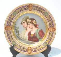 HAND PAINTED ROYAL VIENNA CABINET DEPICTING WOMEN : Lot 139