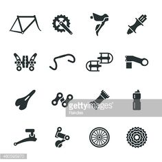 Bicycle Parts Silhouette Icons Set 1 Vector Art | Getty Images