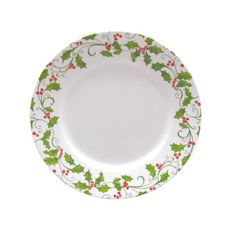 "Corelle Holiday 10 3 4"" Wide Rim Evergreen Rose Dinner Plate Christmas Seasonal | eBay"