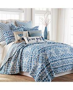 Lillian Reversible Full/Queen Quilt Set | macys.com King Quilt Sets, Queen Quilt, King Pillows, Twin Quilt, Pillow Fabric, Blue Quilts, High Fashion Home, Cozy Bed, Bedroom Decor