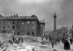 Rarely seen photographs from The Easter Rebellion 1916 -A New Illustrated History by Conor McNamara.  The General Post Office (GPO) was reduced to a shell in the inferno, with the roof and interior floors completely demolished. The GPO had only been reopened to the public earlier in the year after extensive renovations.