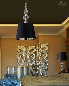 118  SG gold leaf crystal pendant light - GrandoLuce Crystal Pendant Lighting, Pendant Lights, Leaf Design, Gold Leaf, Spice Things Up, Black Gold, Living Spaces, Chandelier, Ceiling Lights