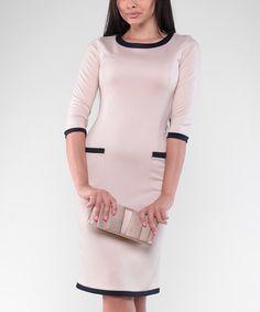 Loving this Beige & Navy Pocket Sheath Dress - Plus Too on #zulily! #zulilyfinds