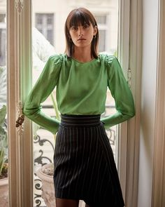 """Scanlan Theodore: """"Winter '19 Colour  The Printed Twill Blouse in Apple, and the Stripe Drape Hem Skirt in Navy.…"""" Rebecca Miller, Scanlan Theodore, Stripes, Apple, Boutique, Colour, Navy, Printed, Blouse"""