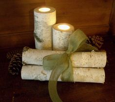 Birch Bark Candle Holders and Birch Logs with Pine Cones  Centerpiece, Wedding Decor, Home Decor