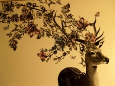 Deer with floral antlers - wall art or framed.