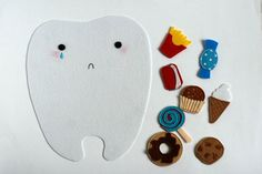 Felt playset Happy tooth - Sad tooth for sorting Good and Bad food for teeth. TomToy handmade in Israel, Educational material Sorting Activities, Bad Food, Bottle Bag, Different Recipes, Hand Embroidery, Teeth, Sad, Happy, Handmade