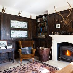 Wood-panelled living room   Living room decorating   Homes and Gardens   Housetohome.co.uk