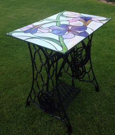 Купить Витражный Столик из станины от швейной машинки, столешница Тиффани - тёмно-бирюзовый, столик