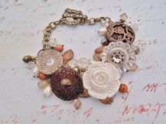 Vintage Button Bracelet  Understated Muted by hangingbyathread