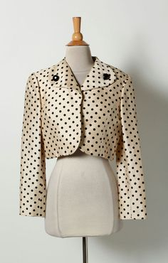 I. Magnin Gold Black Polka Dot Open Front Cropped Blazer Coat in Clothing, Shoes & Accessories, Women's Clothing, Suits & Blazers | eBay