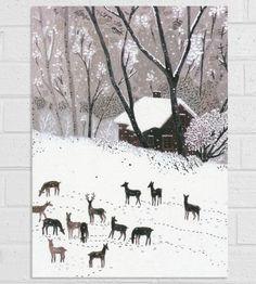 Deer Winter Cards, 6-Pack by Little Otsu