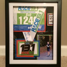 Another half-marathon shadow box!! Looking for a creative way to display your bibs and medals? Shadow boxes are the answer!