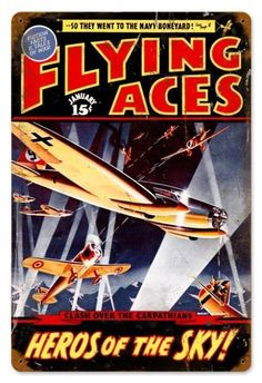 Vintage and Retro Wall Decor - JackandFriends.com - Retro Flying Aces Tin Sign, $39.97 (http://www.jackandfriends.com/vintage-flying-aces-metal-sign/)