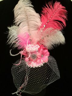 Pink and White Crystal Mini Top Hat. Burlesque Fascinator Costume Vintage Hat #EmpireMiniTopHats #clipon
