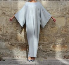 Grey Maxi Dress Caftan Abaya Plus size by cherryblossomsdress