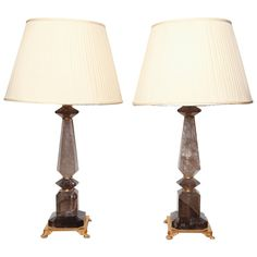 Pair of Smoky Rock Crystal Lamps | From a unique collection of antique and modern table lamps at https://www.1stdibs.com/furniture/lighting/table-lamps/