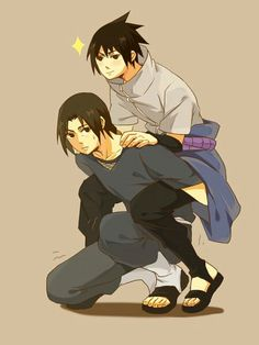 Sasuke, Itachi, funny, piggyback, brothers; Naruto