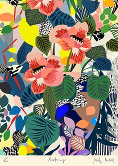 Hockney Flowers by Kitty McCall. 50 x 70cm Giclée archival print on 225 gsm Somerset Velvet Limited edition of 200 Signed and numbered