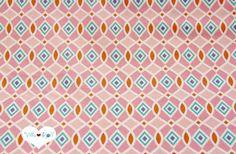 Stoff grafische Muster - retro GEOMETRIC Stoff rosa❖HAPPI Geo Baumwollstoff - ein Designerstück von Villa-Stoff bei DaWanda