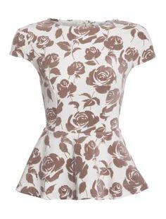 Brown Cap Sleeve Rose Peplum Top