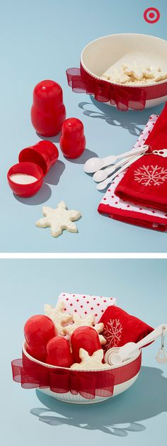 Visiting friends over the holidays? Bring the baking with you! Plus, festive dishtowels and nesting doll measuring cups and spoons double as Christmas kitchen decor, making this hostess gift doubly sweet.