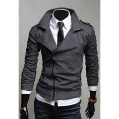 $17.57 Many Zipper Big Turndown Collar Fitting Casual Fleece Coat For Men