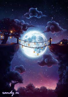 Just breezin' through. Beautiful Nature Wallpaper, Beautiful Moon, Fantasy Landscape, Fantasy Art, Gif Bonito, Animiertes Gif, Amazing Gifs, Moon Pictures, Good Night Moon