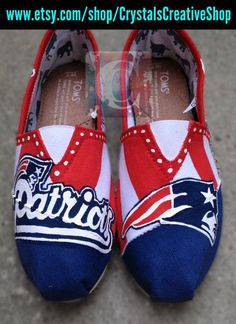 New England Patriots NFL Painted Toms by CrystalsCreativeShop