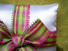 Plaid.....Green and Pink on White Satin Ring by LavenderPosy