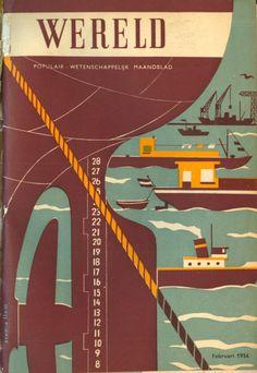 Wereld - Populair Wetenschappelijk Maandblad, februari 1954.    Design Wladimir Flem