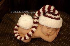 Newborn Photography . . .  Dear Santa, I've been a very good boy . . . Love this baby photo idea . . . long crochet striped hat with fluffy pom-pom. (: WAYLON!