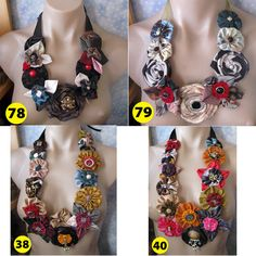 Handmade Rolled Fabric Flower Rose Statement Necklace by vitbich