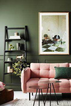 15 velvet sofa ideas for your living room! Colourful Living Room, Living Room Green, Green Rooms, Living Room Paint, Living Room Sofa, Living Room Decor, Bedroom Decor, Blush Living Room, Home Interior