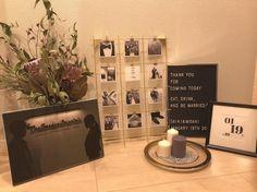 人気のゴールドフレーム!ミールヘーデンを使ってお洒落に飾ろう♡ Space Wedding, Wedding Table, Wedding Reception, Welcome Boards, Wedding Welcome, Floral Wall, Centerpieces, Wedding Decorations, Display