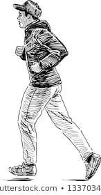 Similar Images, Stock Photos & Vectors of walking man - 122093680 Human Figure Sketches, Human Figure Drawing, Figure Sketching, Life Drawing, Face Sketch, Sketch A Day, Pencil Portrait, Portrait Art, Character Sketches