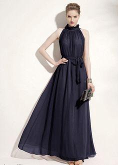 7b98a7002334 Women Pretty Halter Neck Relaxed Big Hem Solid Sleeveless Chiffon Royal  Blue Maxi Dress