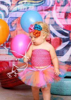 Girls Birthday Tutu Set with Matching Flower Headband Baby Girl First Birthday Tutu Set. $36.50, via Etsy.